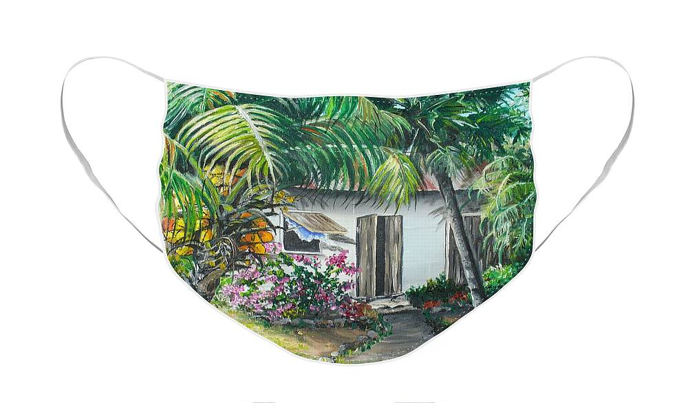 Caribbean Painting Typical Country House In Trinidad And The Islands With Coconut Tree Tropical Painting Face Mask featuring the painting Little West Indian House 2...sold by Karin Dawn Kelshall- Best