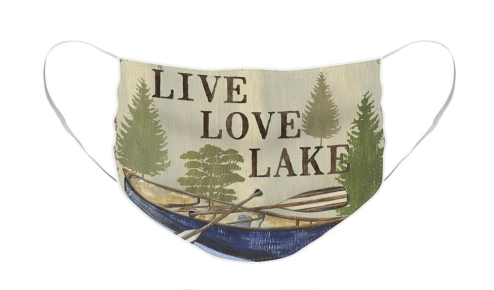 Lake Face Mask featuring the painting Live, Love Lake by Debbie DeWitt