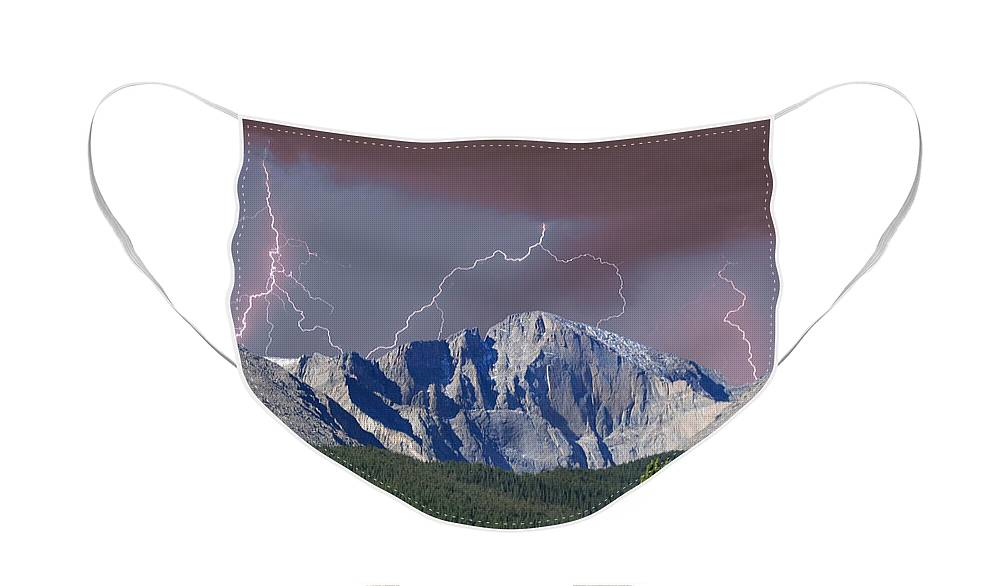 Longs Peak Face Mask featuring the photograph Longs Peak Lightning Storm Fine Art Photography Print by James BO Insogna