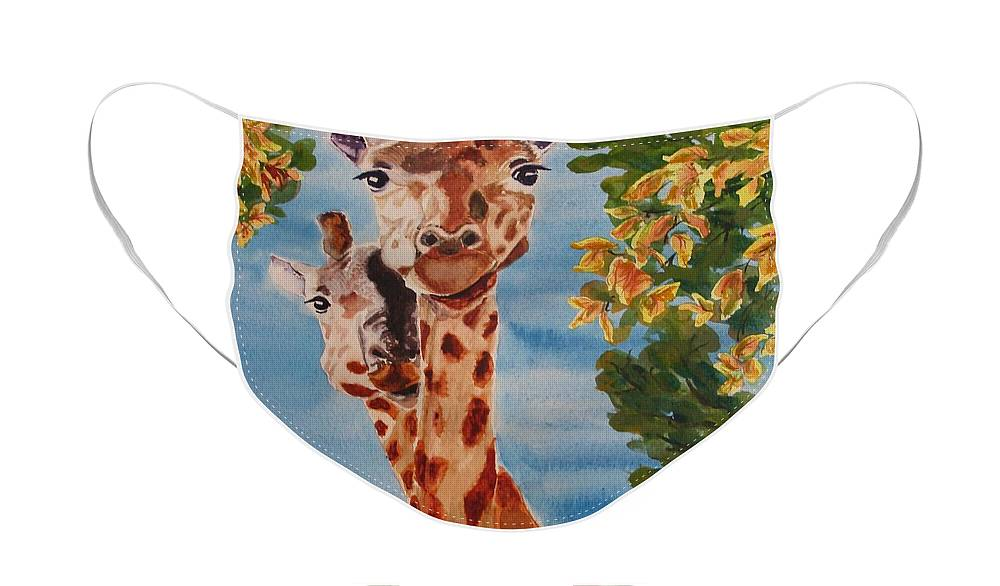 Giraffes Face Mask featuring the painting Lookin Back by Karen Ilari