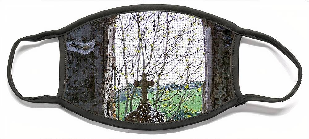 Ireland Face Mask featuring the photograph Looking Out Fuerty Church Roscommon Ireland by Teresa Mucha