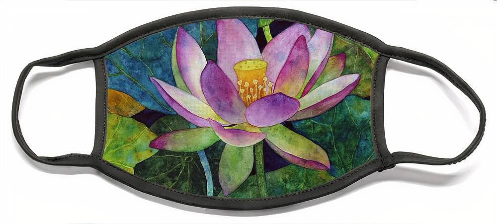 Watercolor Face Mask featuring the painting Lotus Bloom by Hailey E Herrera