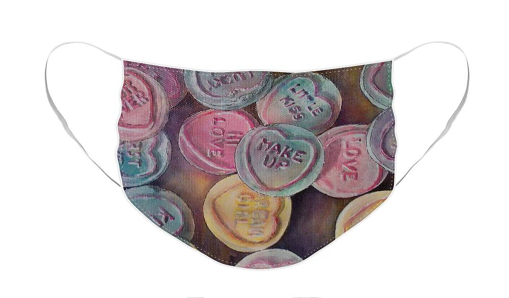 Candy Face Mask featuring the painting Love Hearts by Victoria Heryet