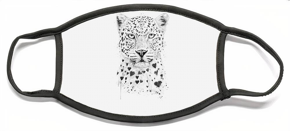 Leopard Face Mask featuring the drawing Lovely leopard by Balazs Solti