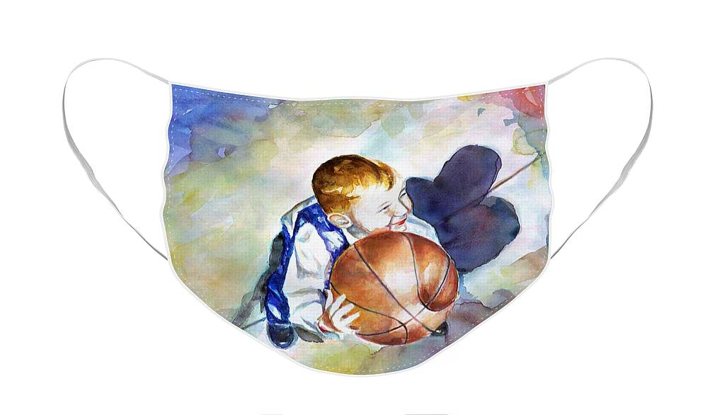 Watercolor Face Mask featuring the painting Loves the Game by Shannon Grissom