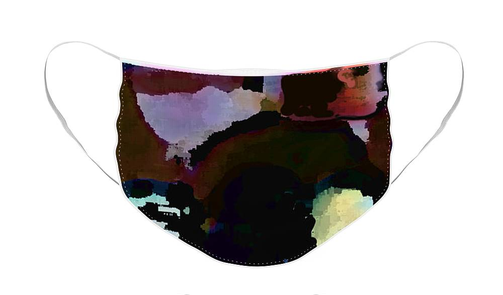 Abstract Expressionism Face Mask featuring the painting Lunch counter by Steve Karol