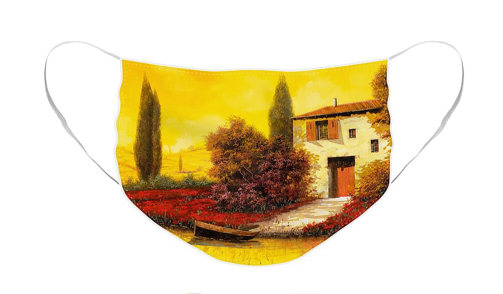 Landscape Face Mask featuring the painting Tanti Papaveri Lungo Il Fiume by Guido Borelli