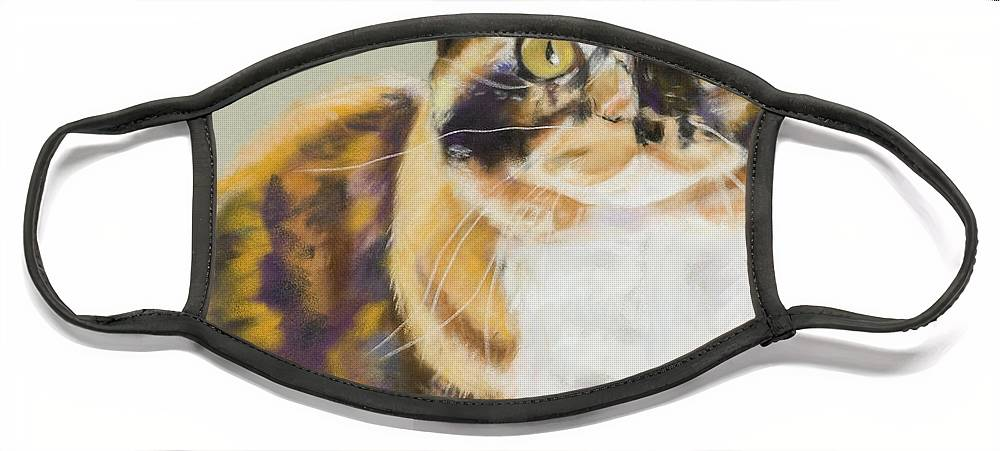 Calico Face Mask featuring the painting Maggie Mae by Pat Saunders-White