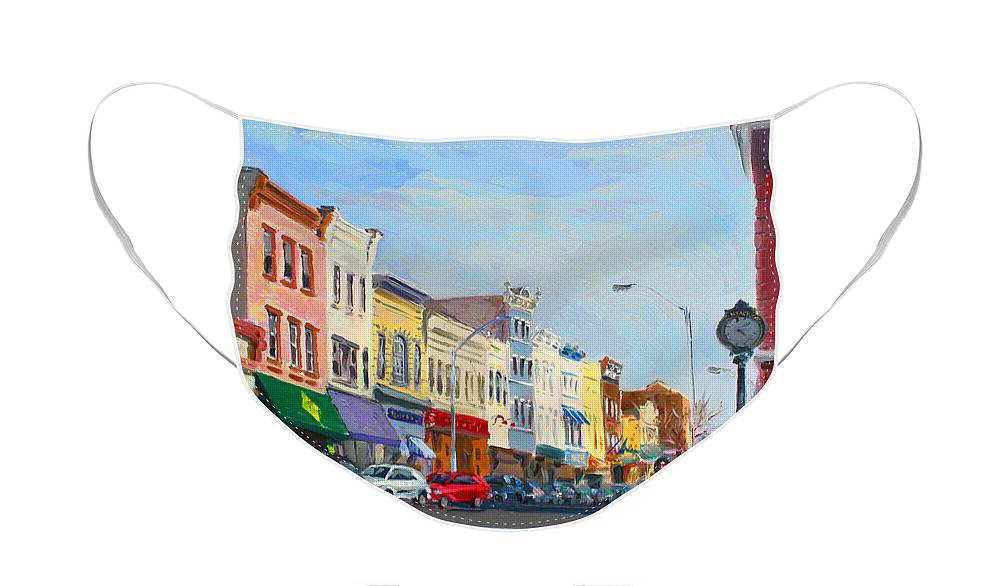 Main Street Face Mask featuring the painting Main Street Nayck NY by Ylli Haruni