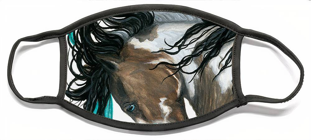 Turquoise Face Mask featuring the painting Majestic Turquoise Horse by AmyLyn Bihrle