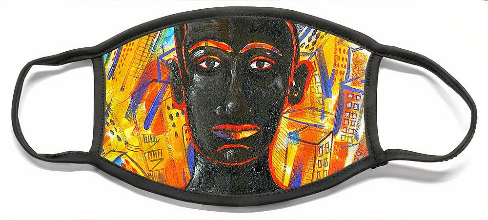 Man Face Mask featuring the painting Man and The City by Rollin Kocsis