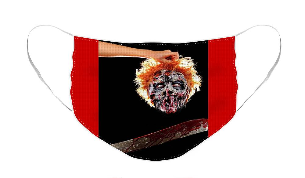 Mandi Monster Face Mask featuring the photograph Mandi Zombie by Angela Rene Roberts and Cully Firmin
