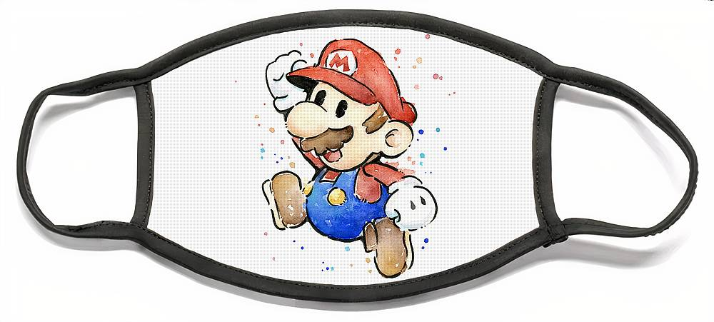 Mario Face Mask featuring the painting Mario Watercolor Fan Art by Olga Shvartsur