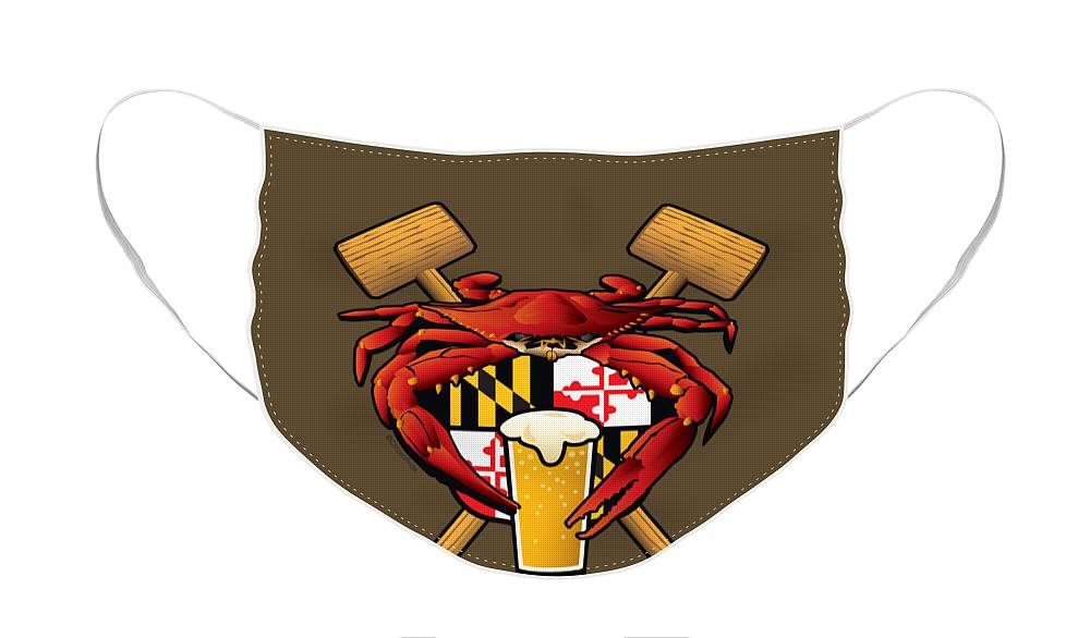 Maryland Blue Crab Face Mask featuring the digital art Maryland Crab Feast Crest by Joe Barsin