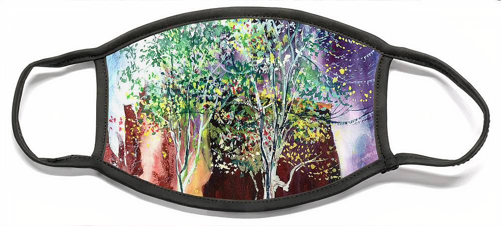 Nature Face Mask featuring the painting Maya by Anil Nene