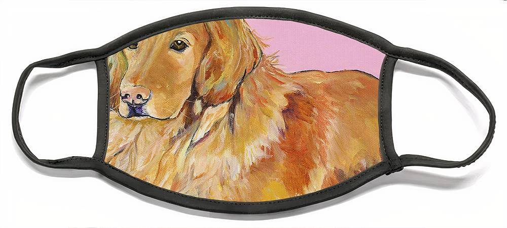 Golden Retriever Face Mask featuring the painting Maya by Pat Saunders-White