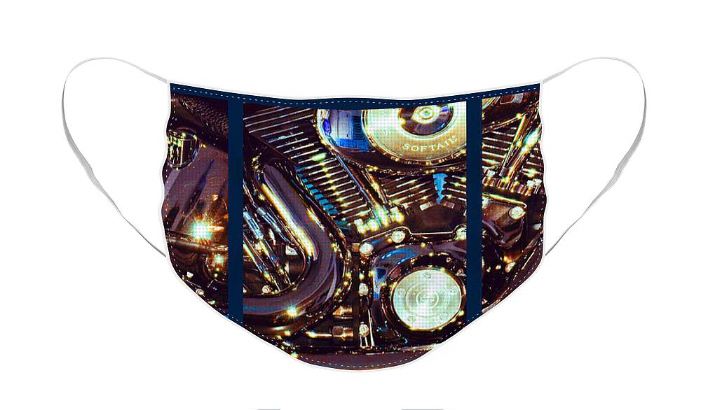 Harley Davidson Face Mask featuring the photograph Mechanism by Steve Karol