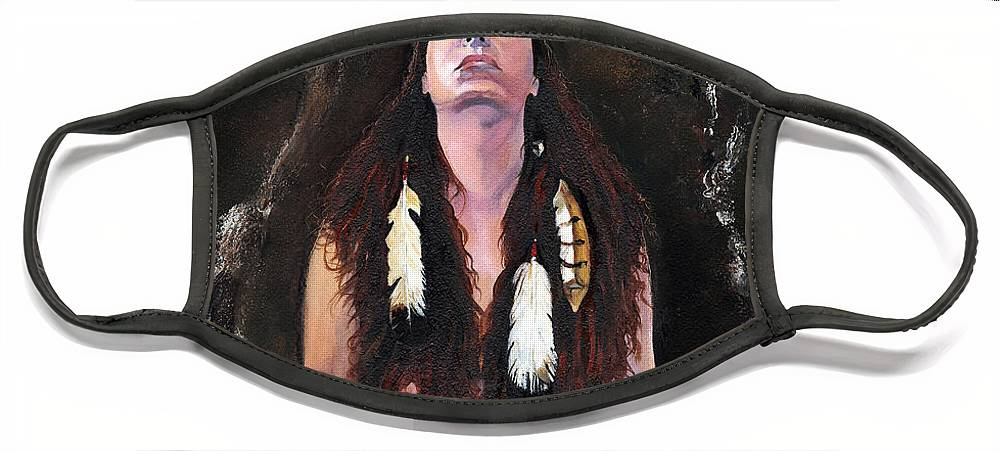 Southwest Art Face Mask featuring the painting Medicine Woman by J W Baker