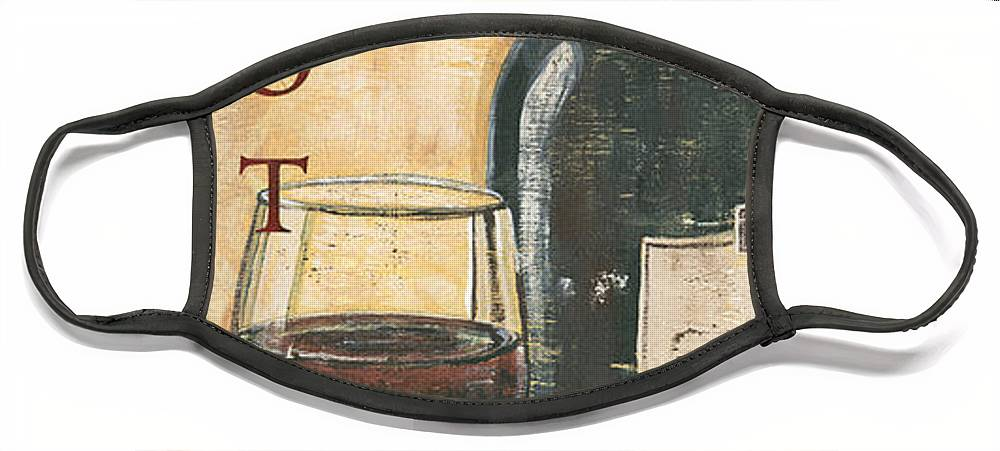 Wine Face Mask featuring the painting Merlot Wine and Grapes by Debbie DeWitt