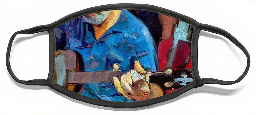 Mike Banjo Music Musician Art Scott Waters Face Mask featuring the digital art Michael by Scott Waters