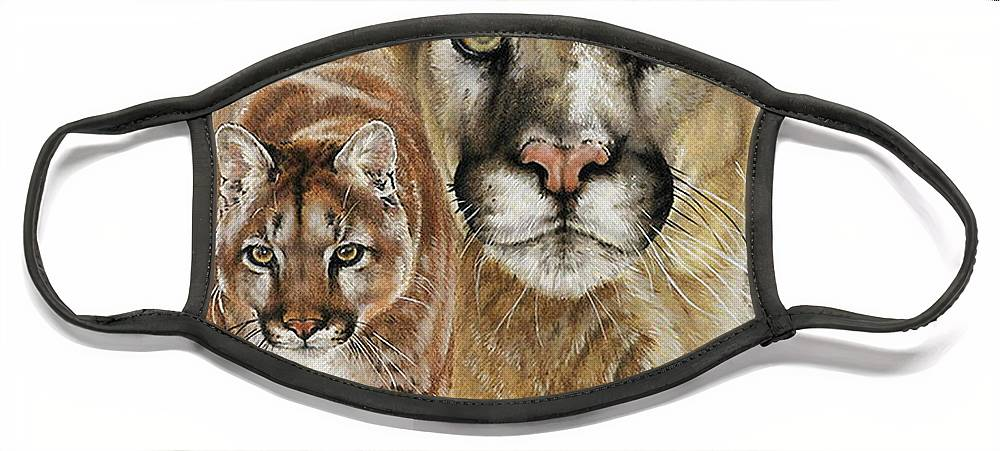 Cougar Face Mask featuring the mixed media Mighty by Barbara Keith