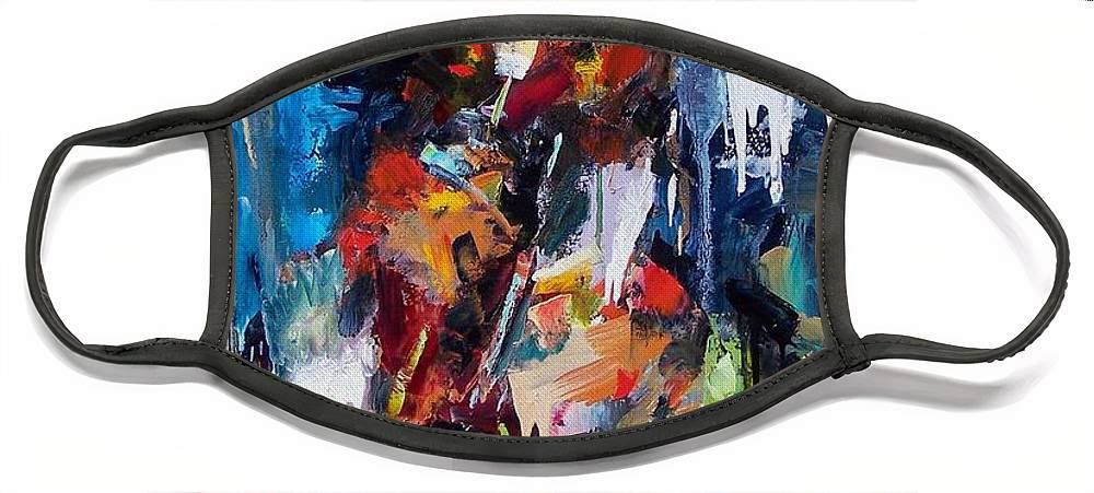 Jazz Art Face Mask featuring the painting Miles Davis 2 by Debra Hurd