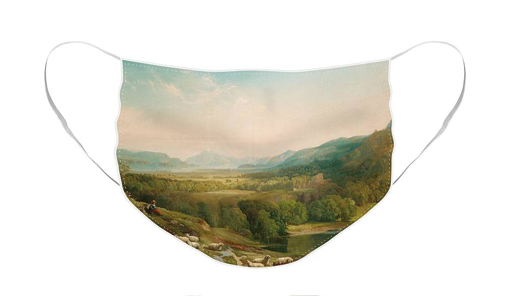 Thomas Moran Face Mask featuring the painting Minding the Flock by Thomas Moran