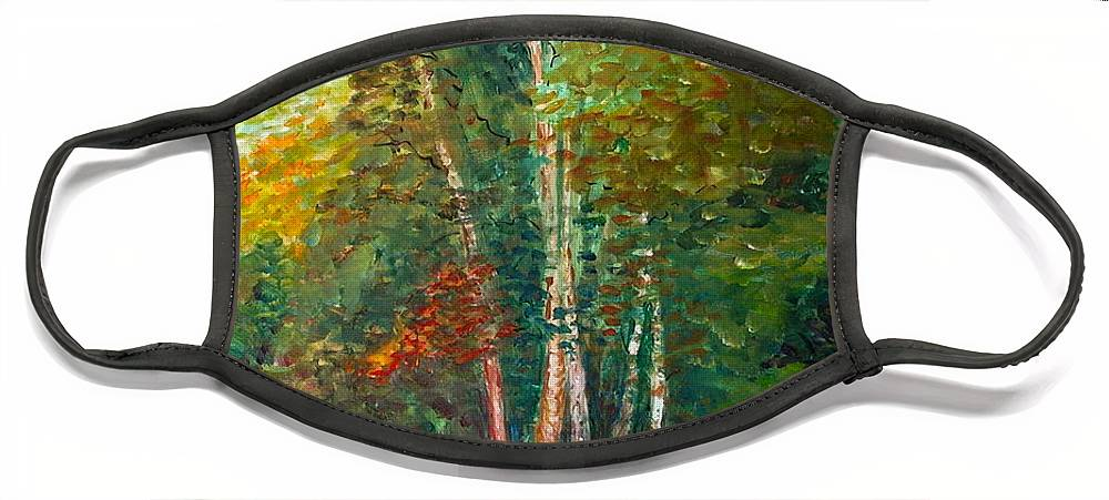 Landscape Face Mask featuring the painting Minnesota Quartet by Nadine Rippelmeyer