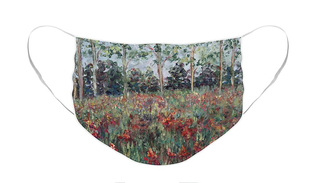 Landscape Face Mask featuring the painting Minnesota Wildflowers by Nadine Rippelmeyer