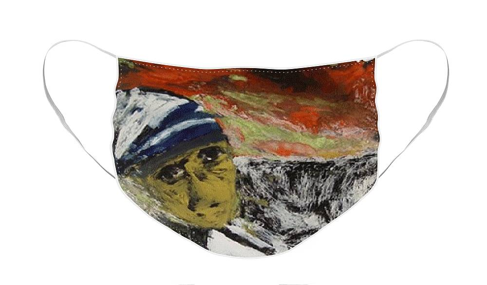 Saint Face Mask featuring the glass art Miracle Mother by Rooma Mehra