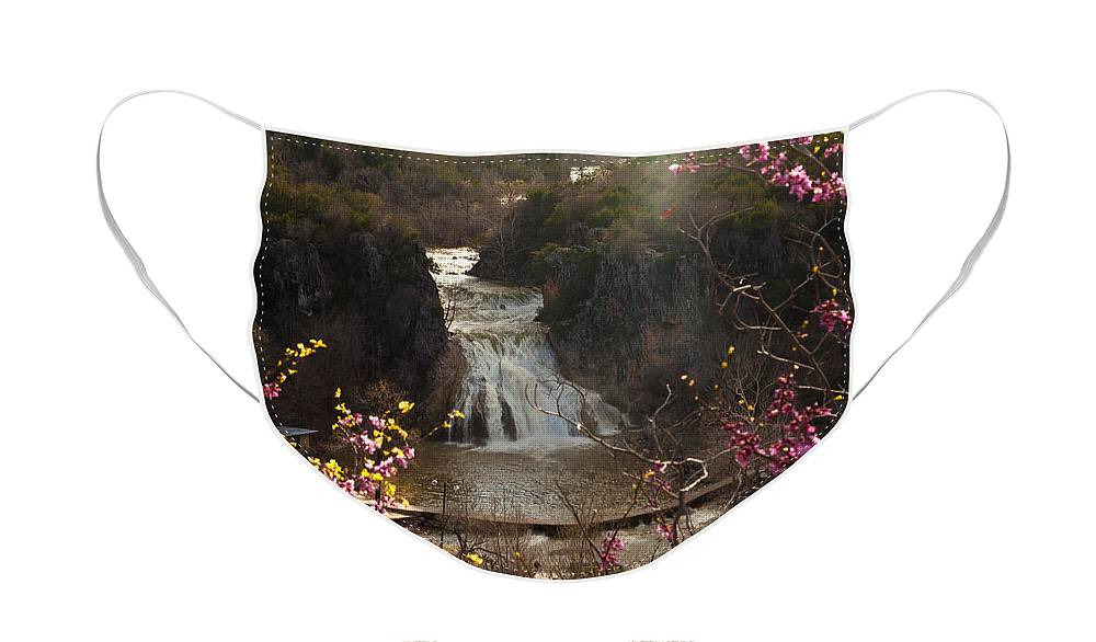 Landscape Face Mask featuring the photograph Misty Day in Turner Falls by Iris Greenwell