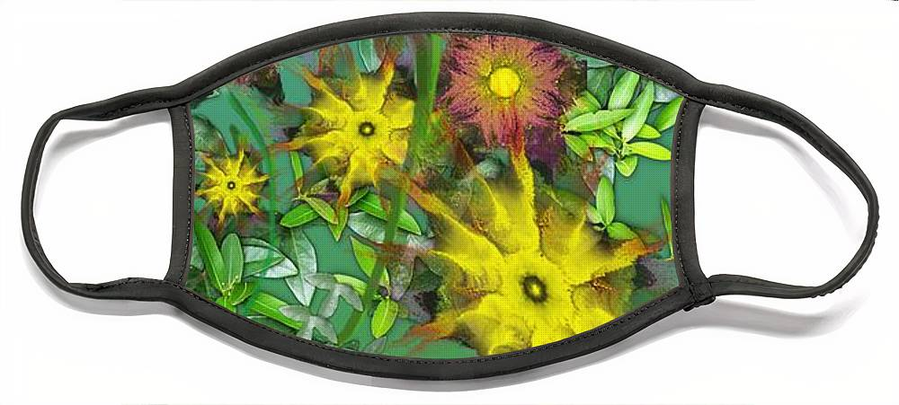 Flowers Face Mask featuring the digital art Mixed Flowers by David Lane