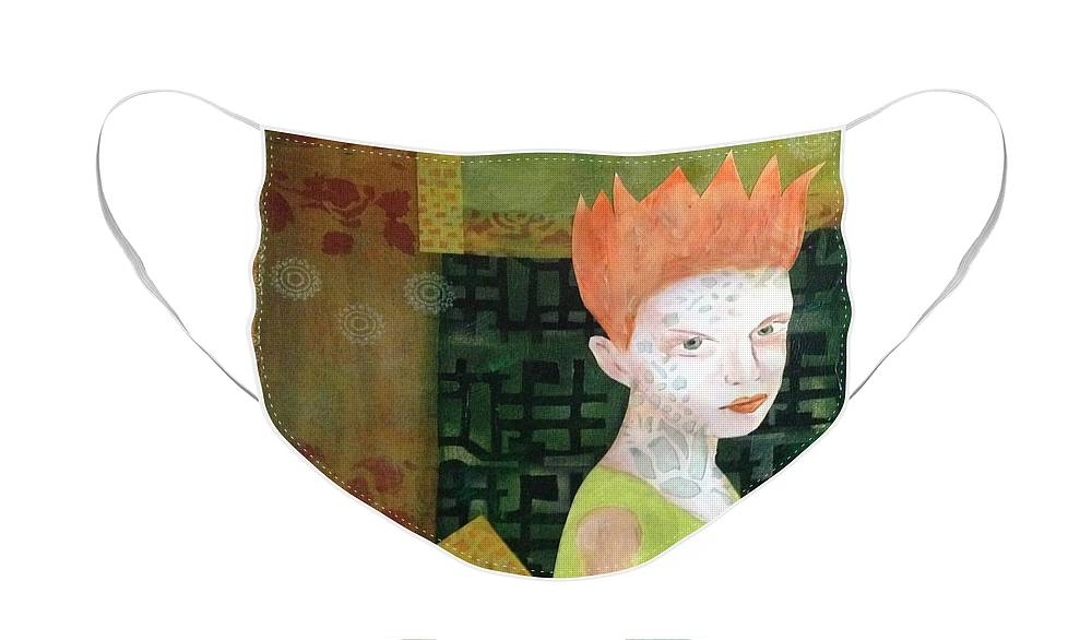 Girl Face Mask featuring the painting Mixed Media Orange Green by Patricia Cleasby