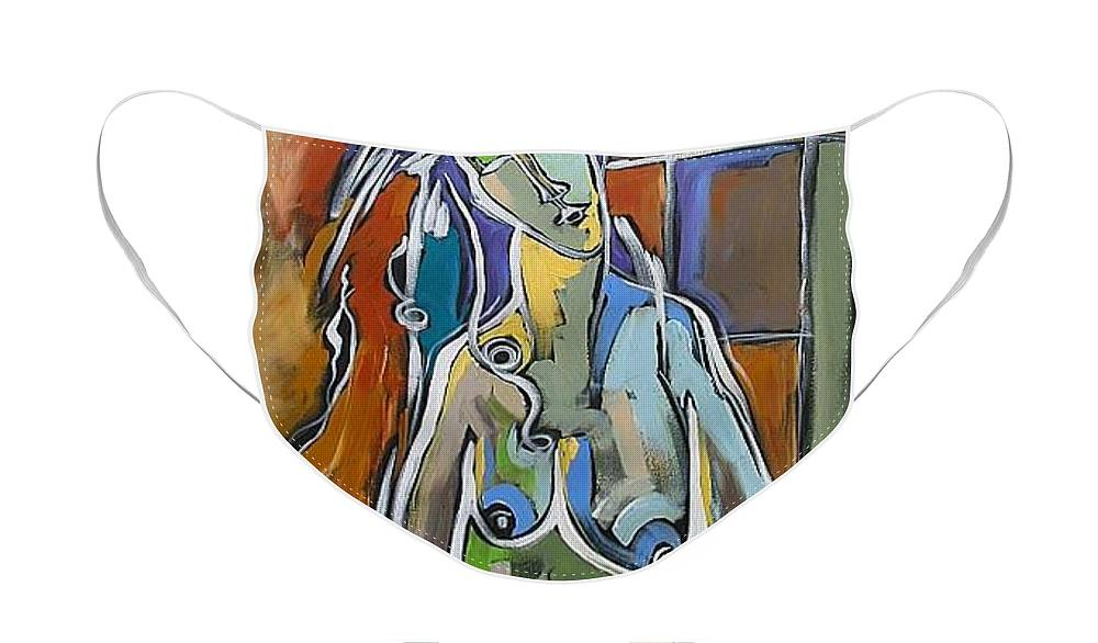 Original Face Mask featuring the painting Modigliani Nude by Linda Monfort