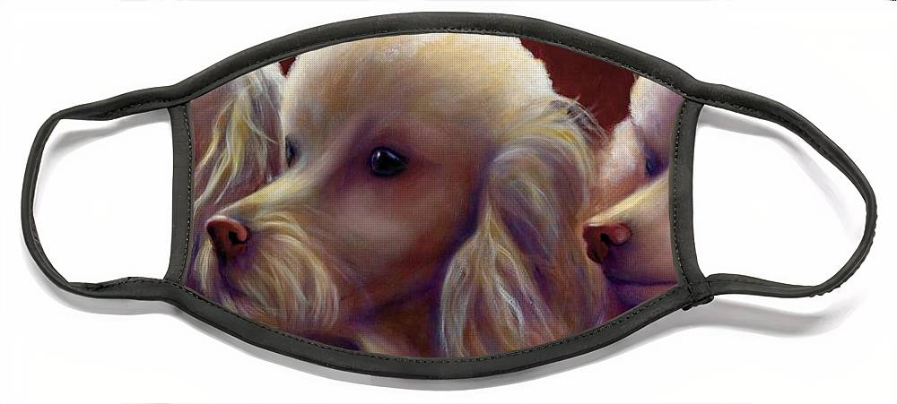 Dogs Face Mask featuring the painting Molly Charlie and Abby by Shannon Grissom