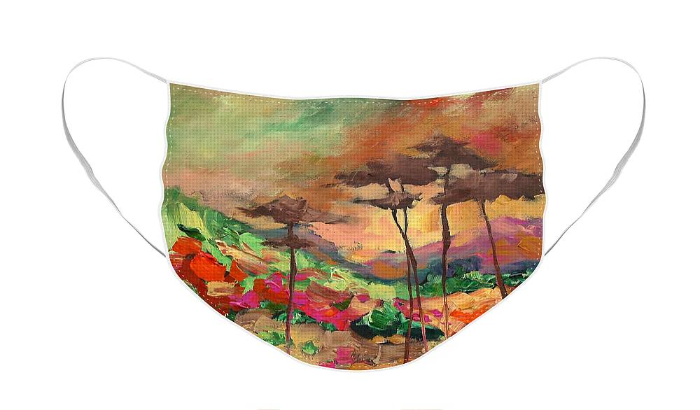 Landscape Face Mask featuring the painting Moment Of Serenity by Linda Monfort