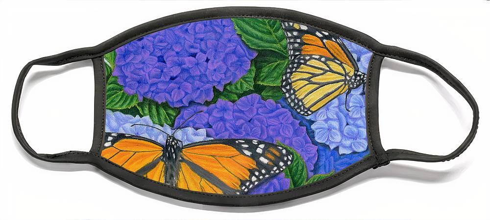 Monarch Butterflies Face Mask featuring the painting Monarch Butterflies And Hydrangeas by Sarah Batalka