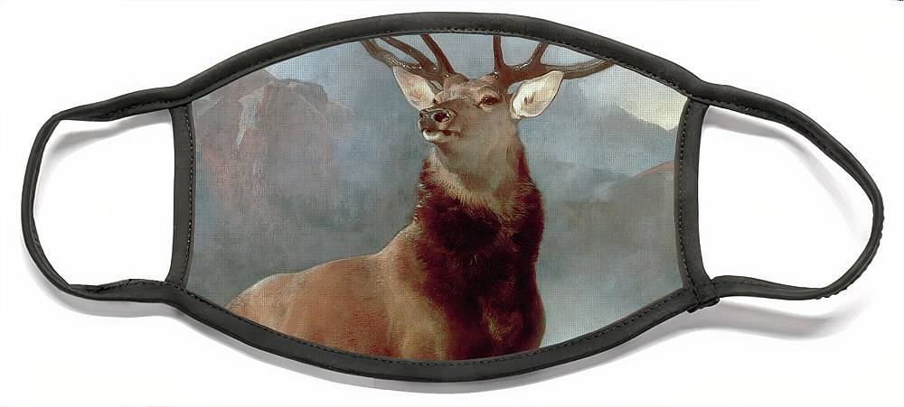 Monarch Face Mask featuring the painting Monarch of the Glen by Sir Edwin Landseer