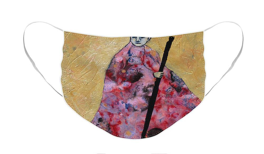 Gold Face Mask featuring the painting Monk With Walking Stick by Pauline Lim