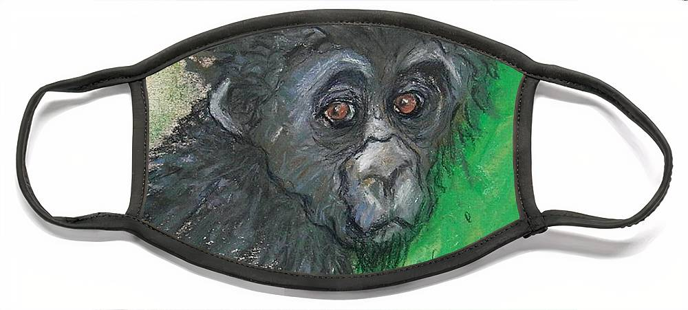 Monkey Face Mask featuring the drawing Monkey Business by Cori Solomon