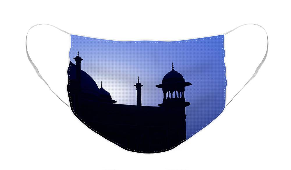 Mosque Face Mask featuring the photograph Moonlight and Minarets by Michele Burgess