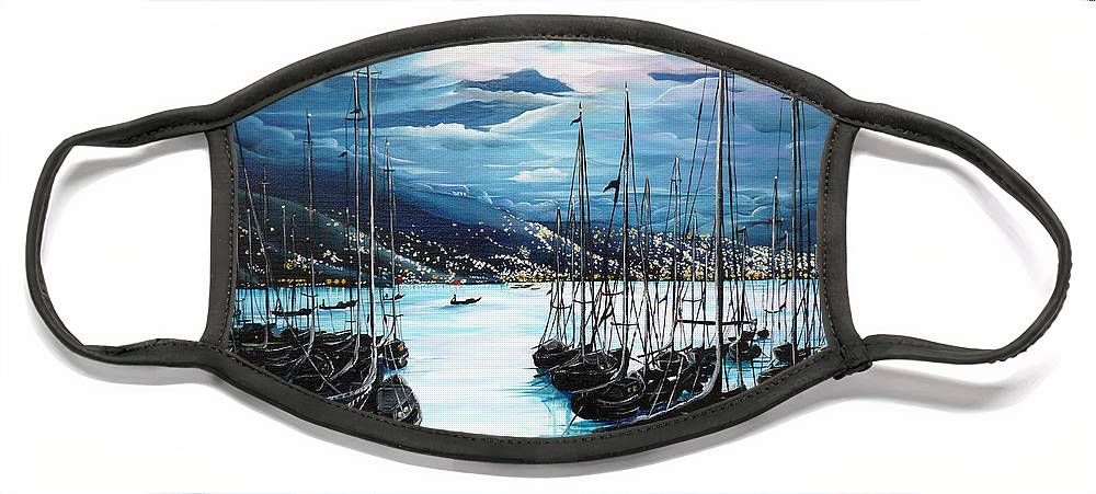 Ocean Painting  Caribbean Seascape Painting Moonlight Painting Yachts Painting Marina Moonlight Port Of Spain Trinidad And Tobago Painting Greeting Card Painting Face Mask featuring the painting Moonlight Over Port Of Spain by Karin Dawn Kelshall- Best
