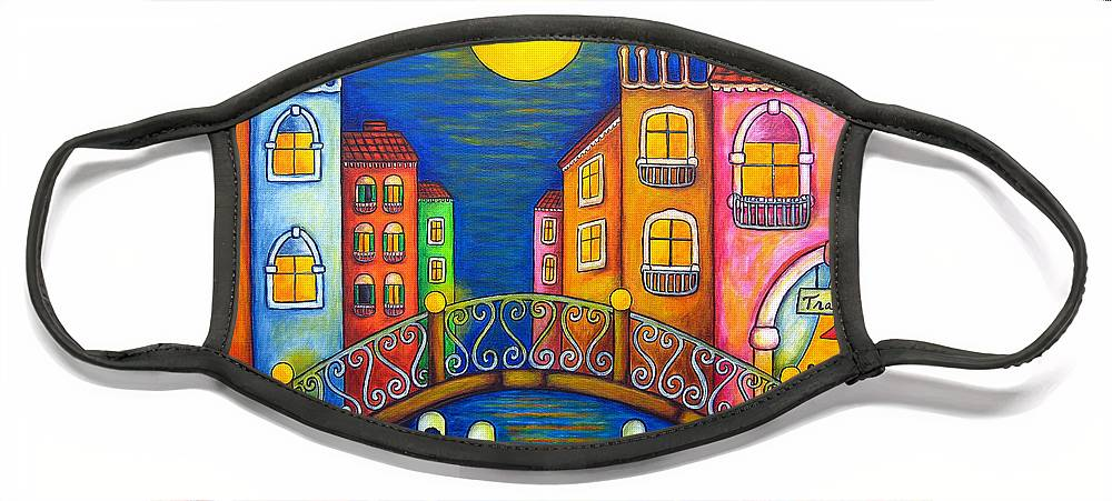 Venice Face Mask featuring the painting Moonlit Venice by Lisa Lorenz