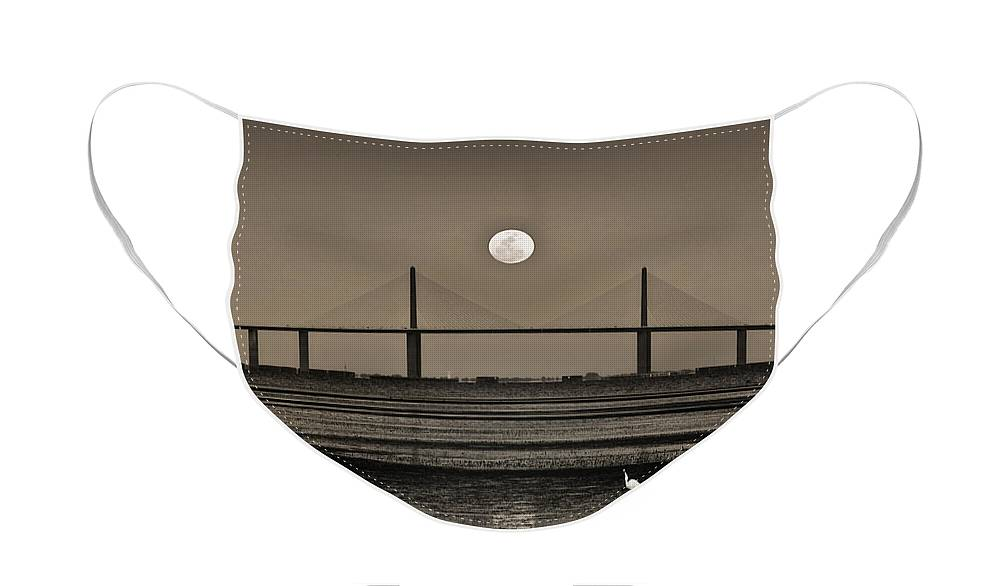 Moon Face Mask featuring the photograph Moonrise Over Skyway Bridge by Steven Sparks