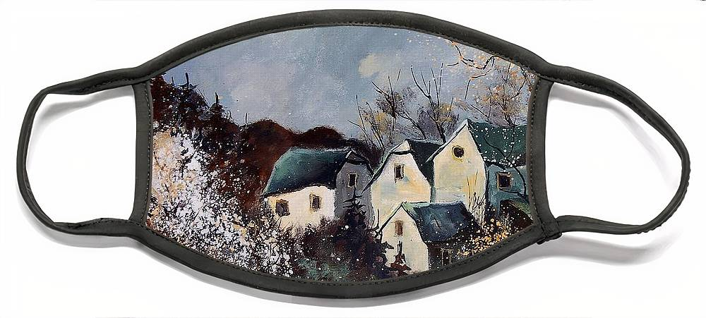 Village Face Mask featuring the painting Moonshine by Pol Ledent