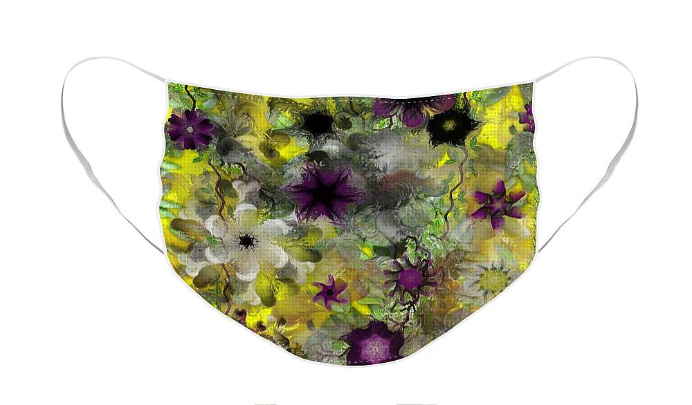 Floral Face Mask featuring the digital art More Floral Madness 012011 by David Lane