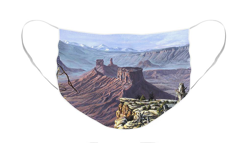 Landscape Face Mask featuring the painting Morning Boundaries by Page Holland
