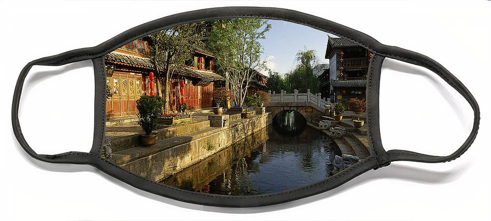 Asia Face Mask featuring the photograph Morning Comes to Lijiang Ancient Town by Michele Burgess