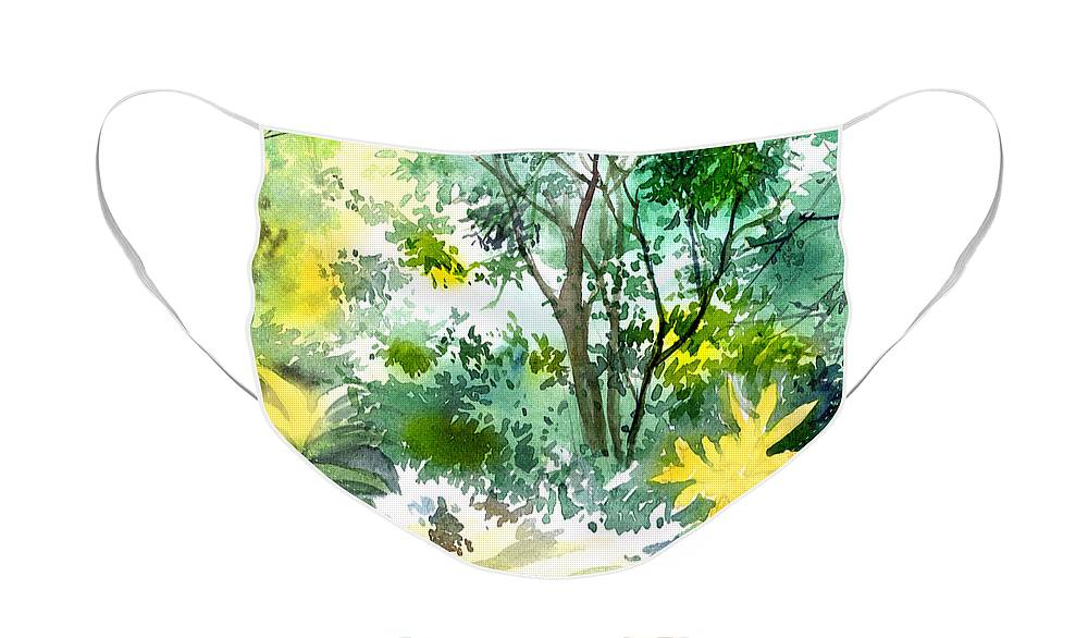 Landscape Face Mask featuring the painting Morning glory by Anil Nene