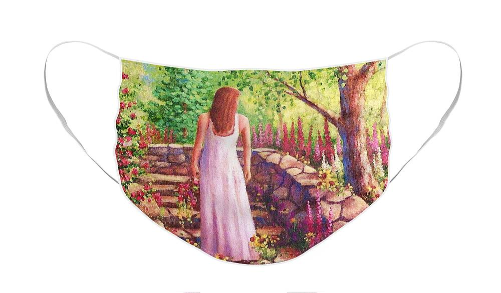 Woman Face Mask featuring the painting Morning In Her Garden by David G Paul
